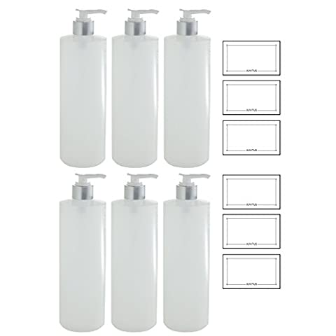 Clear Natural Refillable Plastic Squeeze Bottle with Silver Lotion Pump Dispenser - 16 oz (6 Pack) + (16 Oz Plastic Cylinder Bottles)