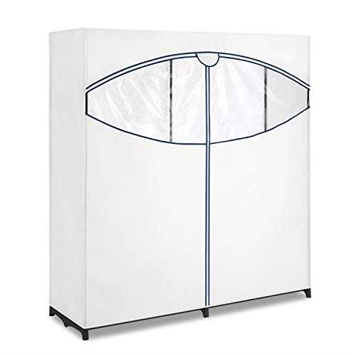 60-inch Wide Zippered Clothes Closet Wardrobe in White by Free Lander