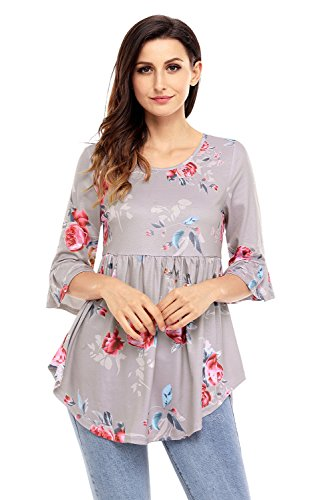 Women's Scoop Neck Floral Print 3/4 Long Bell Sleeve Baby Doll Shirts Top Blouses Newest
