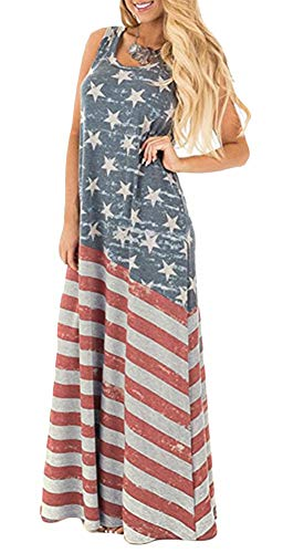 July 4th Women Beach Flowy Summer Stars Stripes Maxi Tank Dress USA Flag XL