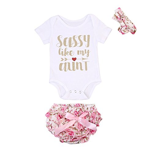 3 Pcs Newborn Baby Girls Romper Bodysuit + Bow-knot Floral Bloomer + Headband Outfits Set(0-3M, White With Shorts)