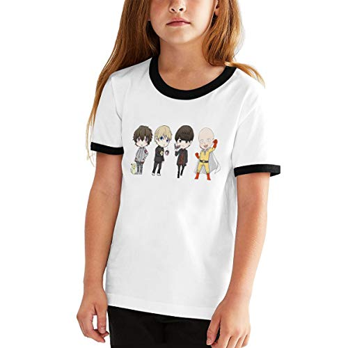 RHZTPYRDE One Punch Man Girls Boys Youthful Fashion Fun Short Sleeve T-Shirt Black S -
