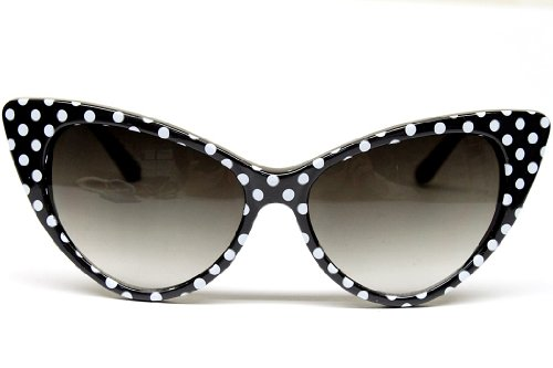 2ac311229e93 Amazon.com  Cat Eye Vintage Retro Polka Dots Sunglasses Womens Wm501 (black    white