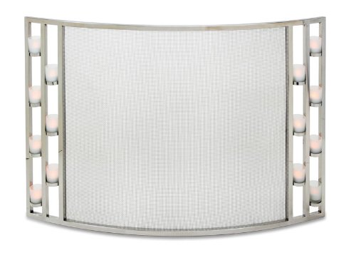 Pilgrim Home and Hearth 18336 Candlewood Tea Light Bowed Fireplace Screen, Polished Nickel, 44″W x 31″H 22 lbs,