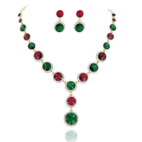 SP Sophia Collection Elegant Women's Jewelry Rhinestone Drop Necklace and Earrings Set in Christmas Red and Green