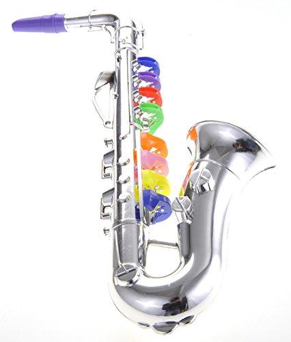 PowerTRC Saxophone with 8 Colored Keys, Metallic Silver