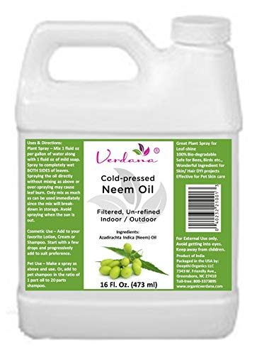 Verdana Cold Pressed Neem Oil 16 Fl. Oz - Unrefined, Filtered - Indoor/Outdoor Leaf-Shine Plant Spray, Pet Care, Skin Care, Hair Care