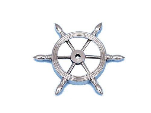 Wheel Paperweight - Hampton Nautical Chrome Ship Wheel Paperweight, 4