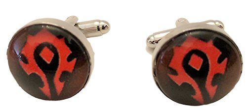 New Horizons Production World of Warcraft Horde Logo Glass Domed Cufflinks