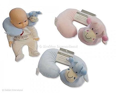 Cojín cuello bebé suave Animal Jirafa en color rosa/Azul ...