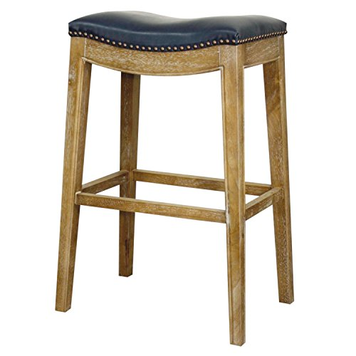 (New Pacific Direct Elmo Bonded Leather Bar Stool,Weathered Smoke Legs,Vintage Blue,Fully Assembled)