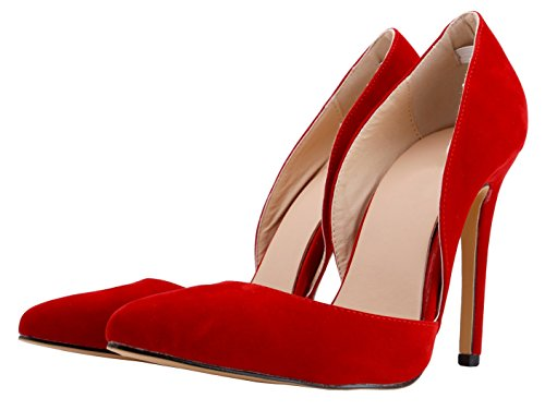 Toe Heel High Orsay Pumps HooH Pumps Pointed D Women Flannel Red Wedding ZAT6Wt