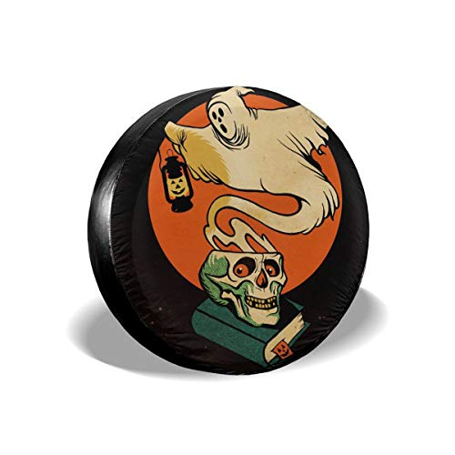 Samhain Skull Halloween Ghost Pumpkin Lamp Spare Tire Cover Rear Car Decorations Holiday Ornament Wheel Accessories Decor Protector 14 15 16 17 Inch for Jeep Trailers RV SUV Trucks Offroad Parts -