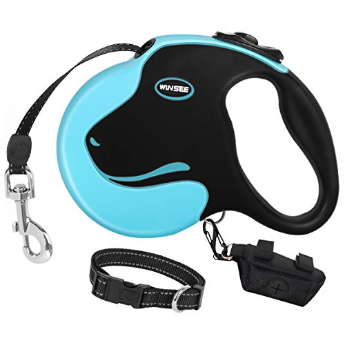 - WINSEE Retractable Dog Leash with Dog Collar & Waste Bag Dispenser 16ft Dog Walking Leash for Medium Large Dogs up to 110lbs Reflective Tangle Free Pet Training Leash One-Handed Brake, Pause, Lock