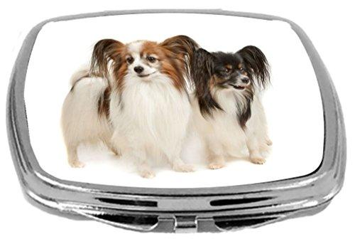 Rikki Knight Compact Mirror, Two Papillion Dogs