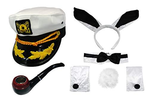 Nicky Bigs Novelties Sailor Ship Yacht Captain Hat Smoking Pipe Cocktail Bunny Costume Kit ()