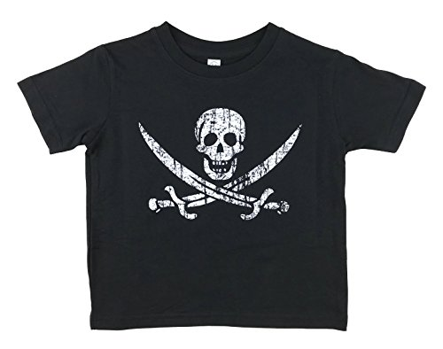 Pirate Flag Jolly Roger Calico Jack Toddler Kids T Shirt (Black, 2)