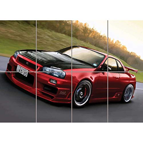 Doppelganger33LTD NISSAN SKYLINE R34 RED SPORTS RALLY CAR GIANT PICTURE ART PRINT POSTER MR451