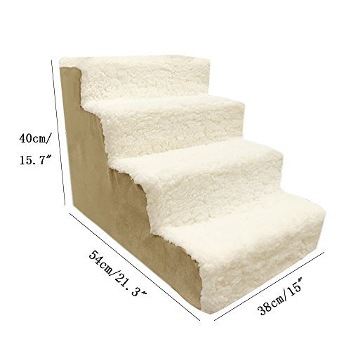 Toparchery 4 Steps Dog Stairs to get on High Bed, Warm Pet Animal Ramp Ladder Berber Fleece Cover Cats Dogs by Toparchery (Image #1)