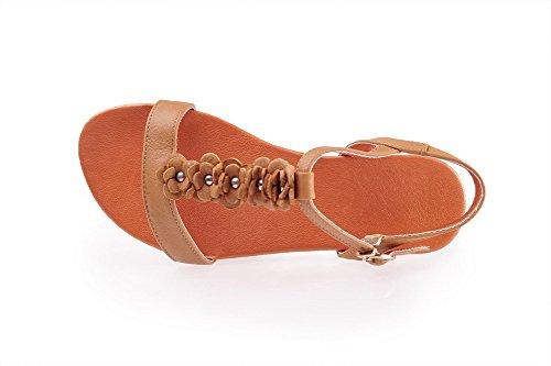 Sandales balamasa Femme Orange Ouvert Solide no Bout heels Boucle xfAFPf10wq