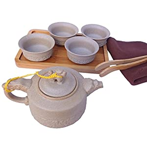 JKCOM Chinese Kungfu Tea Set / Portable Travel Tea Set with a Travel Bag Dragon Pattern (4 Cups)