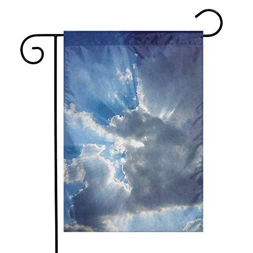 (duommhome Landscape Garden Flag Sunshine Sun Rays Breaking Through Huge Dark Clouds View Landscape Artful Picture Premium Material W12 x L18 Gray Blue)