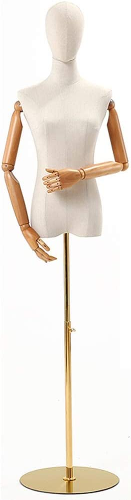 Maniquí Sastres Maniquí Busto con Brazo De Madera Maciza Base De Metal Adecuado For Ropa Joyas Soporte De Exhibición (Color : Round, Size : S)