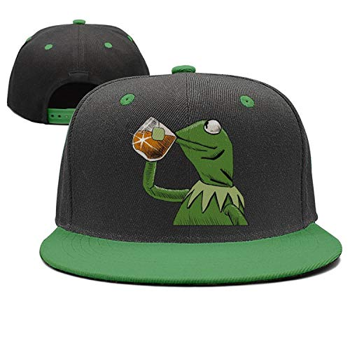 Mens funny-green-frog-sipping-tea wool trucker hat cap womens