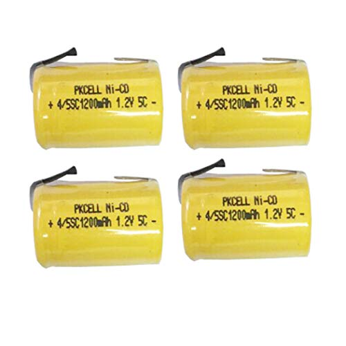 4/5SC Sub C 1.2V 1200mAh Ni-CD Rechargeable Battery Flat Top with Tab Count (4) (Sub C Nicd Rechargeable Battery)