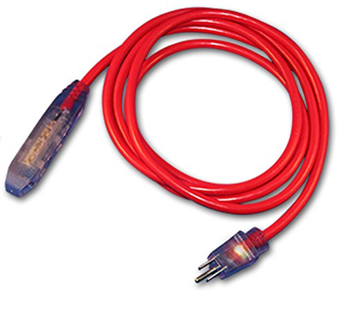 - ProGlow STW 3 Meter (9.8 Foot) Sub-Zero Coldweather Heater Triple Tap Extension Cord with Lighted Ends - Red