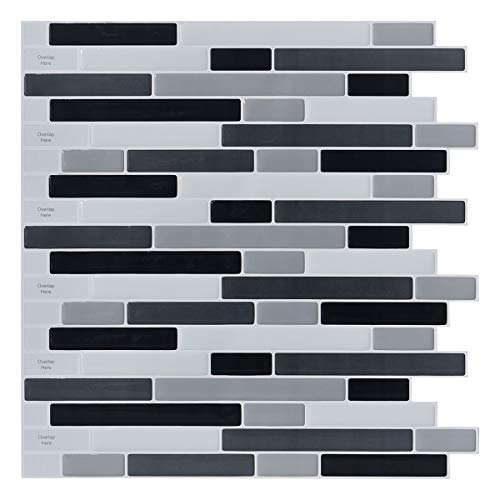 10-Sheets Peel and Stick Backsplash Tile, 3D Self-Adhesive Tile Stickers for Kitchen, -
