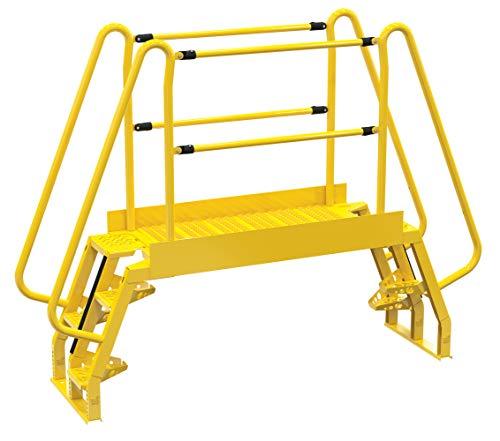 """Vestil COLA-2-68-56 Yellow Alternating Cross-Over Ladder, 94"""" x 73"""", 4 Step, 350 lb. Capacity"""