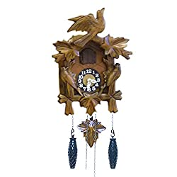BANDA Wooden Cuckoo Clock House and Pendulum, Quartz Movement, Cuckoos Every Hour, Manual Volume Control