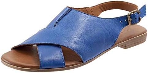VulusValas Women Comfort Open Toe Flats Sandals Slingback