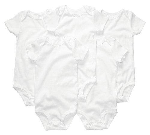 Set of Five Short Sleeve White Onesies