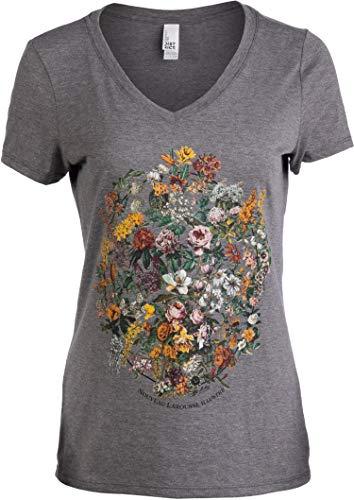 Vintage Floral Art   1900s French Flowers Fleur Gardener V-Neck T-Shirt for Women-(Vneck,S) ()