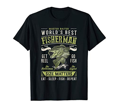 Mens World's Best Fisherman Eat Sleep Fish Fishing Lover Gift T-Shirt