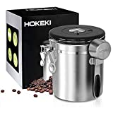 Airtight Coffee Canister, HOKEKI Stainless Steel Container for the Kitchen, Coffee Ground Vault Jar With One Way Co2 Valve And Scoop, Tea Coffee Sugar, Extra Coffee Spoon, 16 oz