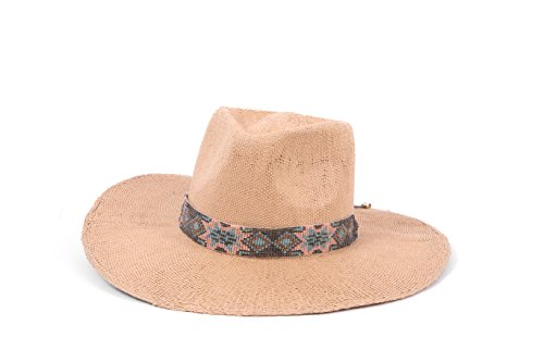 ale by Alessandra Women's Dylan Woven Toyo Sunhat with Beaded Trim, Caramel, One Size