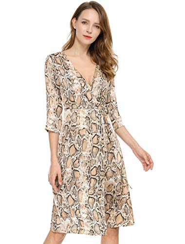 Allegra K Women's 3/4 Sleeve Deep V Neck Tie Front Snake Print Wrap Midi Dress XL Brown from Allegra K