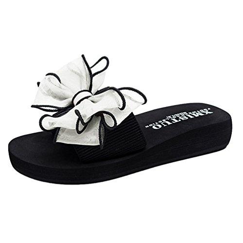 1 YOUJIA Boho Tongs Plateforme Sandales Fleurs Blanc Compensées été Plage Femme qAqz6