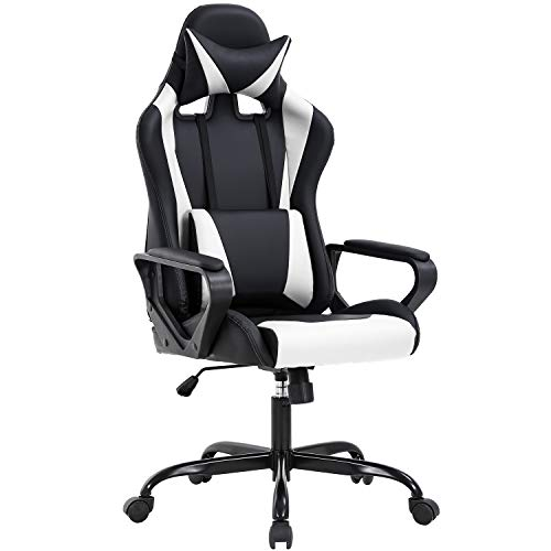 High-Back Gaming Chair PC Chair Computer Racing Chair PU Desk Task Chair Ergonomic Executive Swivel Rolling Chair with Lumbar Support for Back Pain Women, Men White