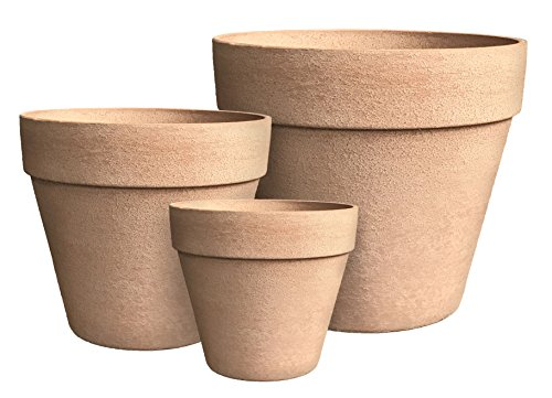 - Happy Planter 608410084636 Planter, Set of 3 (Large,Med,Small) Washed Terra Cotta