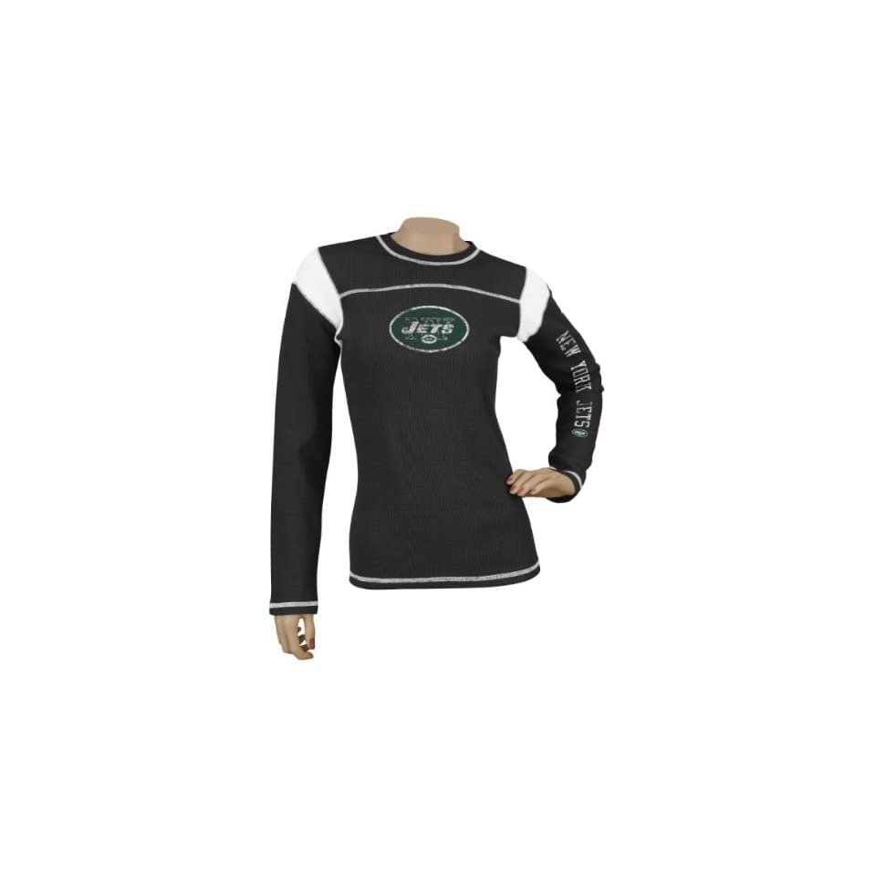 New York Jets Womens / Ladies Black Jersey Style Long Sleeve Waffle Thermal T shirt