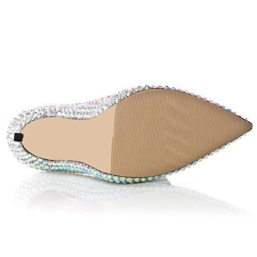 Chaussures Bal Robe d'honneur Soirée Silver Mariée Parti Demoiselle Pompes Haut Dames Bout Talons Femmes Stiletto Pointu Mariage pour Strass 76wFqq4