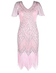 Matte Pink 1920s Sequin Art Dress with Sleeve