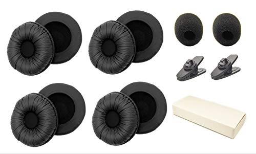 Cushions Leatherette + Mic Foam + Shirt Clip Replacement for Plantronics Supra Plus Encore CS520 C052 CS55 C320 Most Standard Size Office Telephone Headsets H251 H261 H351 H361 W720 476 HW251N