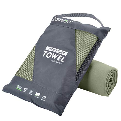 Rainleaf Microfiber Towel, 40 X 72 Inches. Army Green.