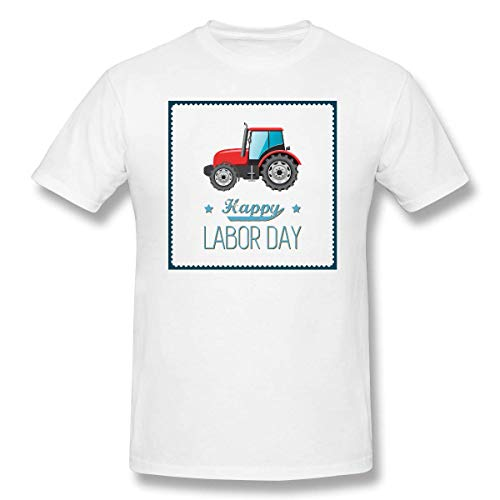YXQMY Men's Car-Tractor-Vehicle-Vector-Hand-Painted-Tractor- Classic T-Shirt White with Short Sleeve