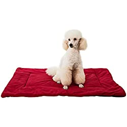 Yicat Pet Cushion Mat Warm Dog Mattress Pad for Pet House/Kennels/Cage/Crate/Bed (XL: 105684cm, 006:Red Wine)